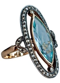 Edwardian Era Antique Aquamarine and Diamond Vintage Ring #rings www.finditforweddings.com