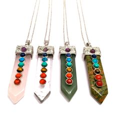 Silver plated Chakra pendants! From left to right:     1. Opalite    2. Rose Quartz    3. Amethyst    4. Avenutrine    5. Quartz  The 7 chakras represent the main energy centers of the body. The chakras  goal is to balance and enhanceenergy while healing the body.