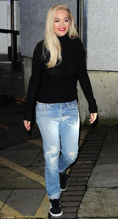 Busy lady: Rita Ora nailed an off-duty chic look with aplomb as she left London's ITV studios after filming Alan Carr's Chatty Man on Wednesday evening