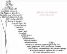 """Shel Silverstein Shows His Love of.... Shoes? """"Closet Full of Shoes"""" #poem #shoes"""