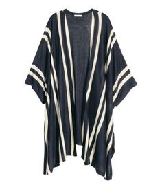 Fine-knit open poncho cardigan- striped navy blue and white.   Warm in H&M