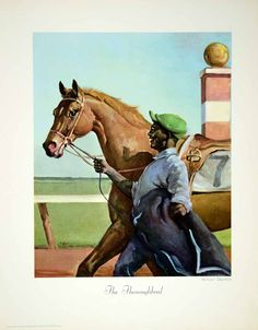 "This is an original 1964 color print of a piece by Wesley Dennis entitled ""The Thoroughbred,"" which depicts a man walking a gorgeous racehorse."