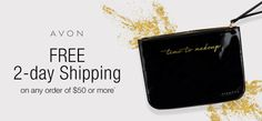 Time for holiday cheer! Get FREE 2-day shipping + a FREE cosmetic pouch w/ any $50 purchase. CODE: 2DAYSHIP #AvonRep