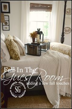 FALL IN THE GUEST BEDROOM- adding easy fall touches to a guest bedroom for a big impact-stonegableblog.com