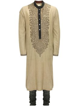 Grey khadi hand embroiderd kurta with military green churidaar available only at Pernia's Pop-Up Shop.