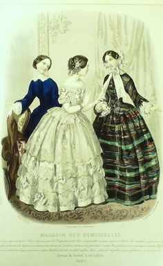 GRAVURE de MODE AUTHENTIQUE-X191-MAGASIN DEMOISELLES-ROBES DE CEREMONIE-1853