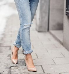 Boyfriend jeans with nude pumps. Simple and elegant.