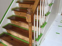 How to take carpet off stairs, stain and paint.