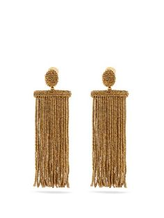 Waterfall tassel-drop clip-on earrings   Oscar De La Renta   MATCHESFASHION.COM
