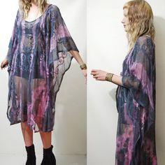 Lace Dress TIE DYE Sheer Mesh Net KAFTAN Tunic Bohemian Hippie Grunge Gypsy Handmade Ooak xs s m l
