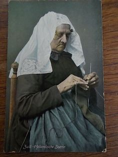 Dutch Postcard Old Lady Knitting Zealand Holland Netherlands Real Photo c1905