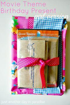 Future slumber party idea!   Movie Theme Birthday Present-Girl Version - pillowcase, movie, and a bag of popcorn