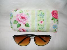 Pink rose quilted eyeglass case with green and by ExpressionQuilts, $5.99