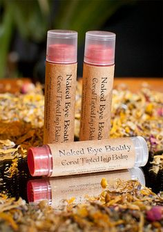 Coral Tinted Lip Balm Sweet Orange Flavor Vegan by nakedeyebeauty, $8.00