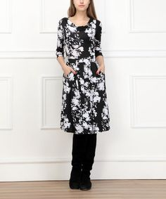 This Black & White Flower Drape Neck Dress is perfect for up coming fall attire and our black and white basics theme... #zulilyfinds