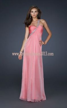 Pink Long Prom Dresses with One Sparkling Strap $176.00