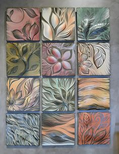 Tiles: Ceramic Wall Art & Backsplash Tiles - Natalie Blake Studios Beautiful botanical designs, hand carved in porcelain tiles – ready to hang as wall art or to gro Sgraffito, Clay Tiles, Porcelain Tiles, Art Tiles, Porcelain Dinnerware, White Porcelain, Ceramica Artistica Ideas, Cerámica Ideas, Wal Art