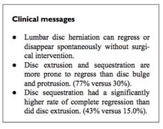"The sole variable of ""disc herniation size"" or ""disc herniation regression"" cannot predict clinical outcomes. But this study does offer some very encouraging statistics to tell us that the larger or more severe herniations often have a higher chance of spontaneous recovery."