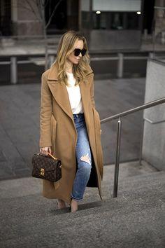 January 30, 2017 The Balancing Act   Helena of Brooklyn Blonde - Camel Coat: Mackage   Sweater: H&M    Denim: Levis   Mules: Chanel   Handbag: Louis Vuitton Pochette Metis