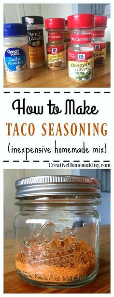 Homemade taco seasoning mix that is inexpensive and easy to make from ingredients you already have on hand. No additives or preservatives!