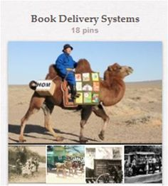 """Book Delivery Systems: Pins of unusual and historical book delivery systems and other types of """"mobile libraries"""" are piling up to the point they deserve their own board. A few modern bookmobiles will undoubtedly wind up here, but they are the exceptions. """"Book Vending Machines"""" [http://pinterest.com/suziholler/book-vending-machines/] and """"Bookstores & Libraries"""" [http://pinterest.com/suziholler/bookstores-libraries/] have their own boards."""