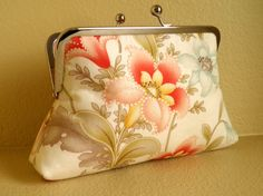 So Pretty! Vintage Flowers on White Clutch from SimplyClutch.etsy.com #dteam #clutch #vintage #flowers #accessories