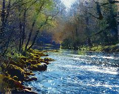 The Dart near Holne Bridge by British Contemporary Artist Richard Thorn Watercolor Water, Watercolor Landscape, Landscape Art, Landscape Paintings, Watercolor Paintings, Watercolors, Paintings I Love, Nature Paintings, Original Paintings