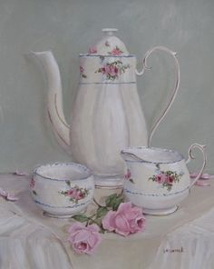 Tea or coffee. This painting is by Gail McCormack and is sold. Tea Art, Arte Floral, Coffee Set, Coffee Break, Tole Painting, Vintage China, Vintage Flowers, Art Blog, Tea Time