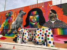 Okuda is the artist Street Wall Art, Murals Street Art, Mural Art, Street Art Graffiti, Wall Murals, Okuda, World Street, Graffiti Tagging, Farm Art