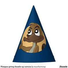 Platypus giving thumbs up cartoon party hat