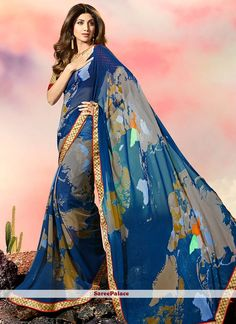 Shilpa Shetty Faux Georgette Print Work Printed Saree