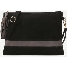 Black Suede Contrast Panel Clutch With Strap (35 BAM) via Polyvore featuring bags, handbags, clutches, suede purse, suede handbags, strap purse, suede clutches and suede leather handbags