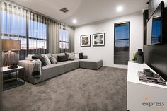 Looking for a great investment opportunity located across Perth's most sought after new suburbs? Check out our display home collection now. Home Theater, Theatre, Ventura Homes, Storey Homes, Display Homes, House Design, Couch, Curtains, Entertaining