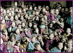 A HORDE OF HAPPY SMILES IN OLD MEIJI-ERA JAPAN -- What Did the Photographer Say to these Kids ? by Okinawa Soba, via Flickr