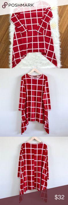 "Red & White Windowpane Asymmetrical Dress Red & White Windowpane Asymmetrical Dress  Dressy-casual, long sleeved, windowpane pattern, asymmetrical shark-bite hem, polyester / spandex dress.     New. Size 3XL/18.  Bust: 44""  Length: 33""  Shoulder: 17.5"" Sleeve: 24"" Dresses Asymmetrical"
