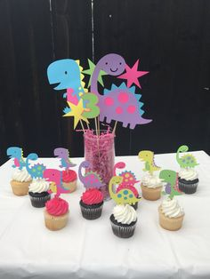 Dinosaur centerpiece comes with two large dinosaurs Two leaf accent pieces Roar accent piece Also available to match this theme Cupcake toppers Happy birthday banner Goodie bags High chair banner 4th Birthday Party For Boys, Third Birthday Girl, Girl Dinosaur Birthday, Birthday Party Themes, Dinosaur Party Decorations, First Birthday Decorations, First Birthdays, Girly, Instagram