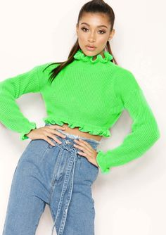 b0130f90602e4 Missyempire - Honey Neon Green Cropped Frill Knit Jumper 90s Aesthetic
