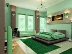 Habitación verde menta