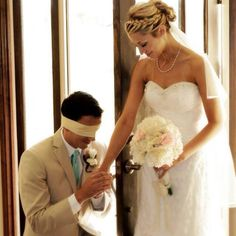 Without the groom seeing his bride, praying before the wedding. Love my cute cousins