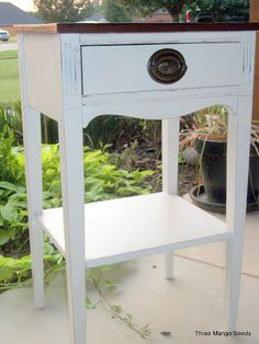 White Distressed Side Table *SOLD*