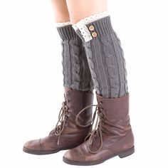 Grey Lace-Trim Cable-knit Leg Warmers, 45% discount @ PatPat Mom Baby Shopping App