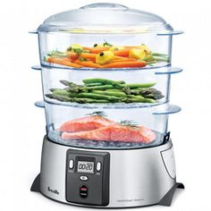 "Breville® Health Smart Food Steamer, 3 Trays, each of 11 X 8 3/4"" widthProgrammable settings-Preset 20 minutes, Customize up to 2 hours, Delay start for up to 12 hoursElectronic Timer - Heating element produces steam within 30 secondsPlastic Cooking Pan for cooking versatilityUse one tray or 2 trays or stack all 3 to cook entire meal-Steam rice & vegetables in upper trays while cooking fish or poultry in the lower traySpace Effective & Space Storage as trays conveniently nest inside one ..."