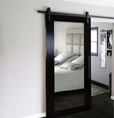 High-quality, sliding wood-glass barn door with mirror. (First picture shows wood type: African oak with colour/stain: Wenge) A sliding wood-glass barn door separates rooms from each other, provides privacy and is space-saving. Sliding Glass Barn Doors, Mdf Doors, Sliding Barn Door Hardware, Wood Doors, Sliding Door, Wood Barn Door, Stainless Steel Doors, Door Makeover, Wood Glass