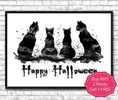 Black Cats Halloween Watercolor Print Black Cat Print by ArtsPrint