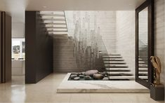 Landhaus in Monteuil von Alexandra Fedorova Modern Staircase Alexandra Fedorova Landhaus Monteuil von Home Stairs Design, Interior Staircase, Staircase Railings, Interior Architecture, Interior Design, Staircases, Entry Stairs, House Stairs, Garage Entry