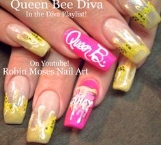 Queen Bee Nails! #diva #nailart #nails #nail #art #howto #nailart #flowers #diy #design #tutorial #honey #queenbee #bumblebee #easy #simple #diy #summer