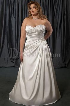 Close-Fitting A-Line Full Length Satin Sweetheart Nuptial Gown for Haute Bride