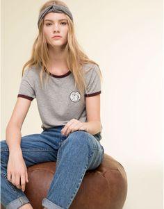 Pull&Bear - femme - t-shirts et tops - t-shirt liserés pièces - gris vigoré - 09242326-I2015