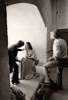 Robert Bresson on the set of Lancelot du Lac (1974).