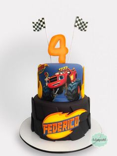 Torta Blaze Cake Medellin by Giovanna Carrillo Torta Blaze, Bolo Blaze, Blaze Cakes, Blaze Birthday Cake, Blaze And The Monster Machines Cake, Ladybug Cakes, Monster Truck Birthday, Superhero Cake, Fun Cupcakes